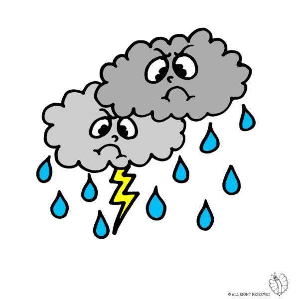Disegno Di Nuvole Pioggia E Fulmini A Colori Per Bambini