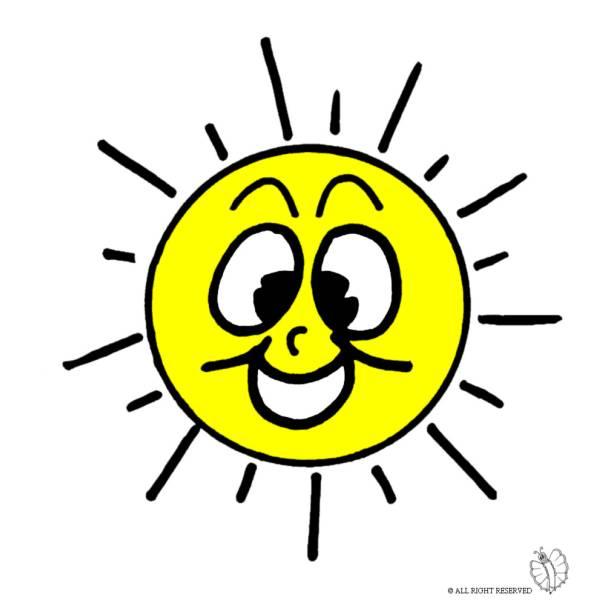 Disegno di Sole con Sorriso a colori