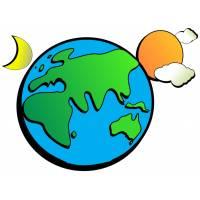 disegno di Terra Sole Nuvole e Luna a colori