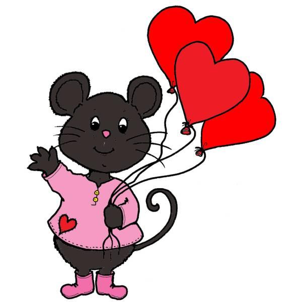 disegno di topo san valentino a colori per bambini