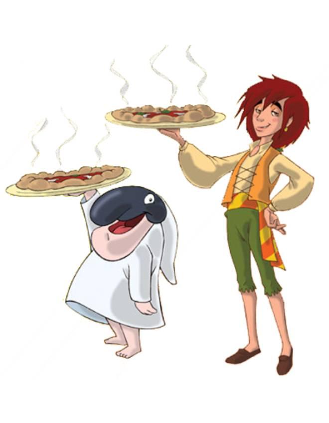 disegno di Totò Sapore e la Pizza a colori