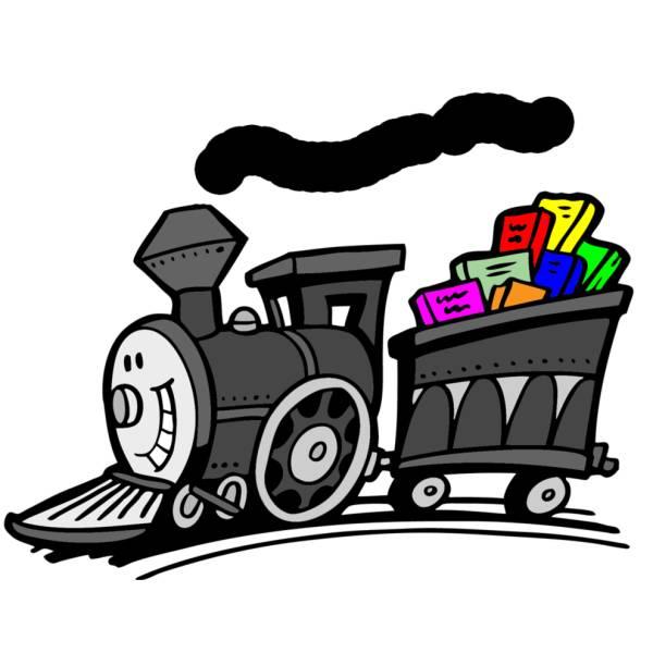 Disegno di treno con sorriso a colori per bambini