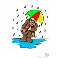 Disegno di Uomo Sotto La Pioggia a colori