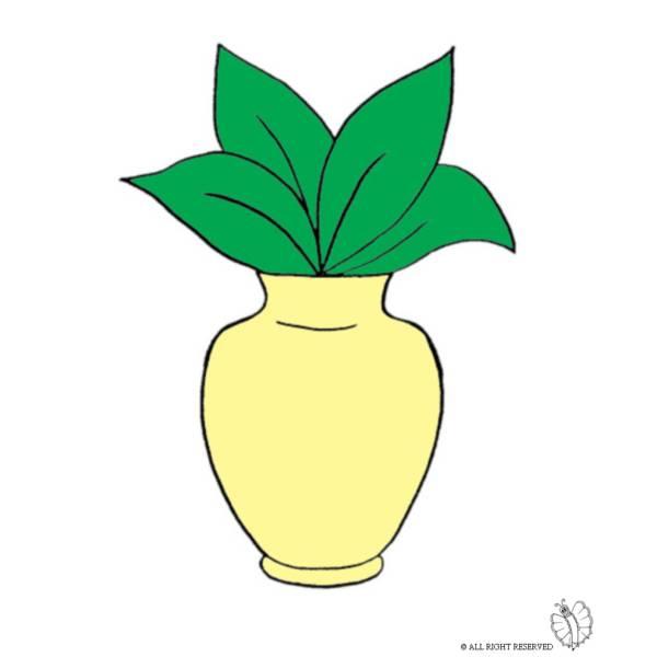 Disegno Di Vaso Con Pianta A Colori Per Bambini