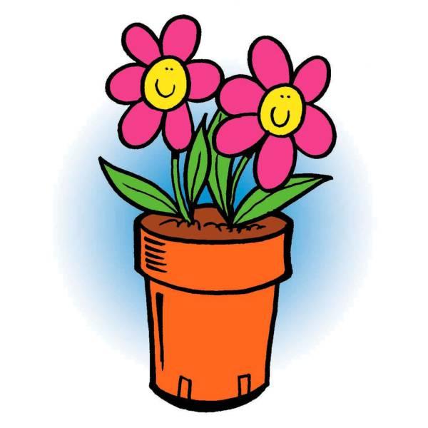 disegno di vaso di fiori a colori per bambini