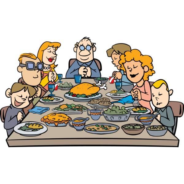 Disegno di Famiglia a Cena a colori
