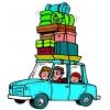 disegno di Famiglia in Vacanza a colori