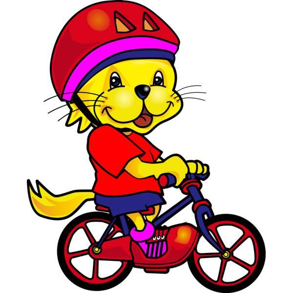 Disegno di Leoncino in Bici a colori