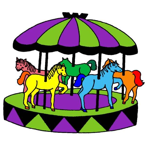 Disegno Di Giostra Con Cavalli A Colori Per Bambini