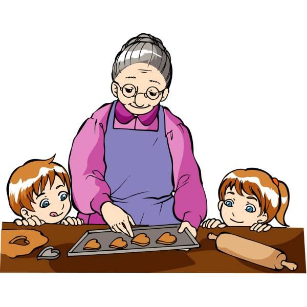 Disegno di La Nonna con i Nipotini a colori