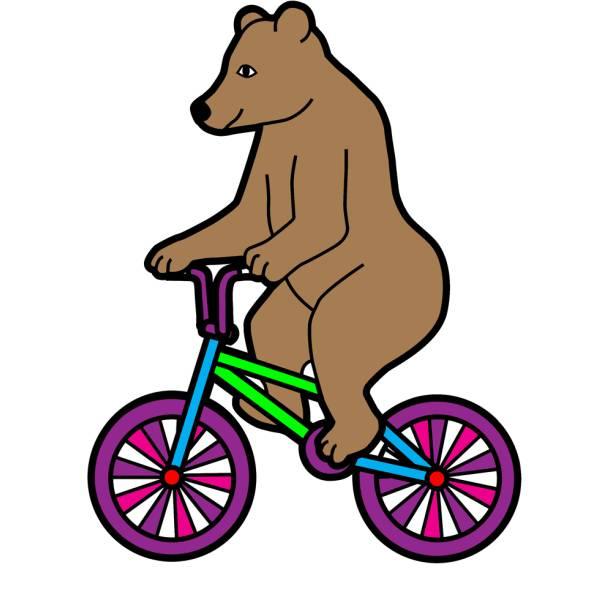 Disegno di l orso in bicicletta a colori per bambini