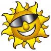 disegno di Sole con Occhiali a colori