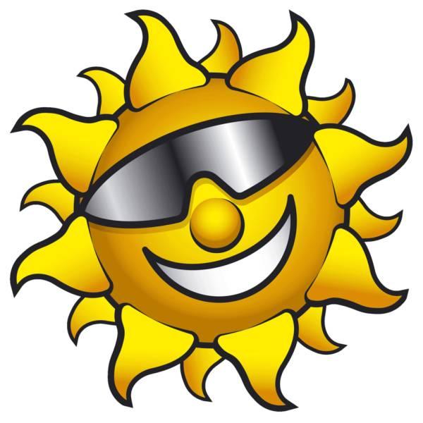 Disegno di sole con occhiali a colori per bambini