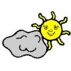 disegno di Sole e Nuvola a colori