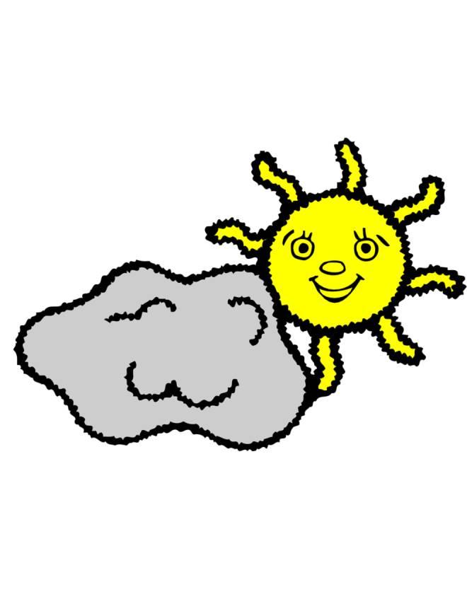 Stampa disegno di sole e nuvola a colori for Sole disegno da colorare