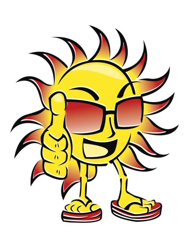 Disegno di sole in ciabatte a colori per bambini for Sole disegno da colorare