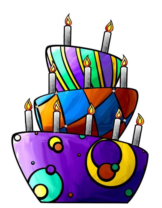 Torta Compleanno Stilizzata.Disegno Di Torta Di Compleanno A Colori Per Bambini Disegnidacolorareonline Com