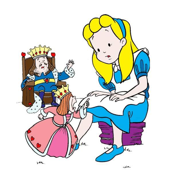 Disegno di Alice con il Re e la Regina a colori