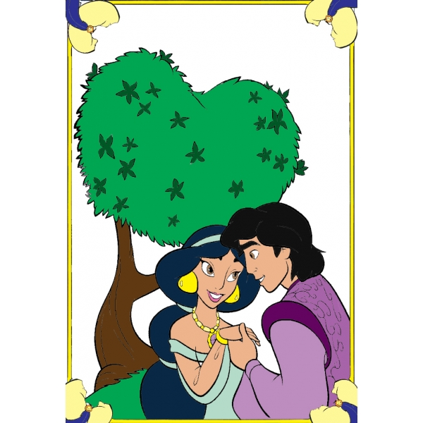 Disegno di Alladin e Jasmine a colori