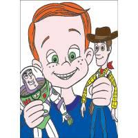 Disegno di Andy Woody e Buzz a colori