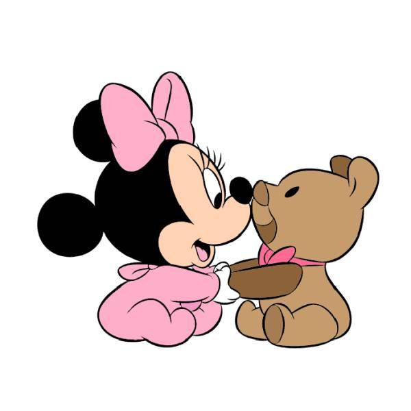 Disegno Di Baby Minnie Con Orsacchiotto A Colori Per Bambini
