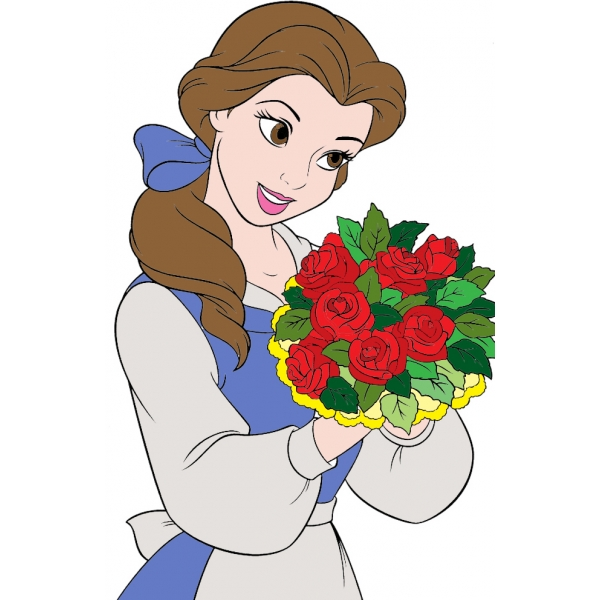 Disegno di belle con fiori a colori per bambini for Disegni la bella e la bestia