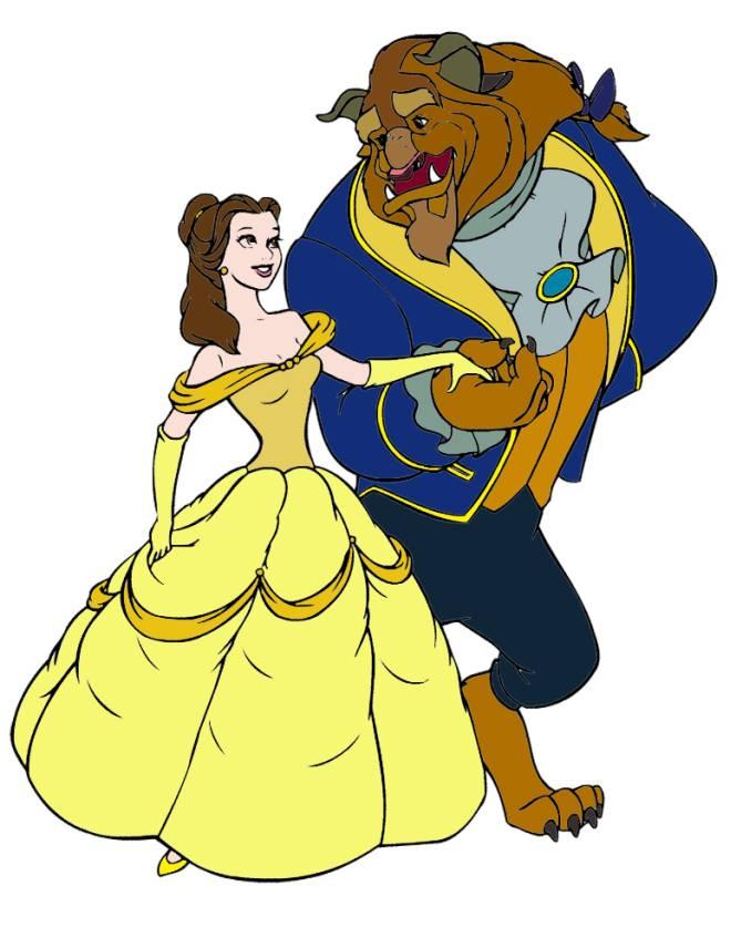 Disegno di la bella e la bestia ballo a colori per bambini for La bella e la bestia immagini da stampare