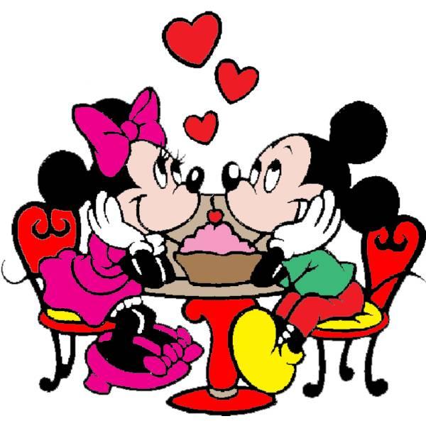 Disegno di minnie e topolino innamorati a colori per