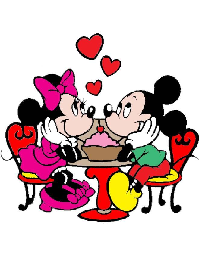 Stampa disegno di minnie e topolino innamorati a colori for Disegni di minnie da colorare