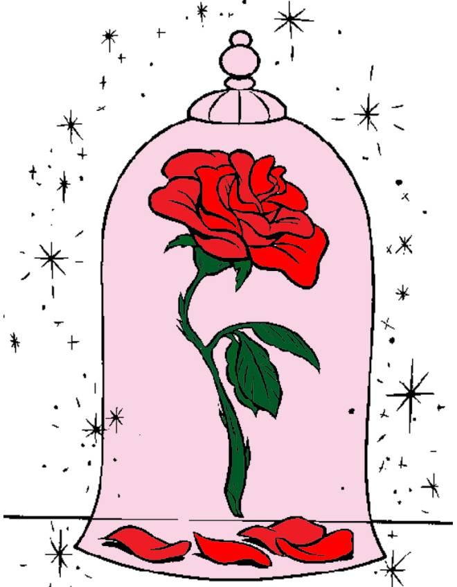 Disegno di la rosa della bella e la bestia a colori per for Disegni la bella e la bestia