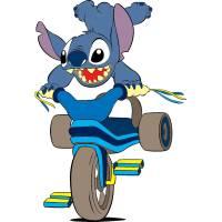 Disegno di Stitch sulla Bici a colori