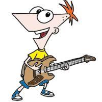 disegno di Phineas con la Chitarra a colori