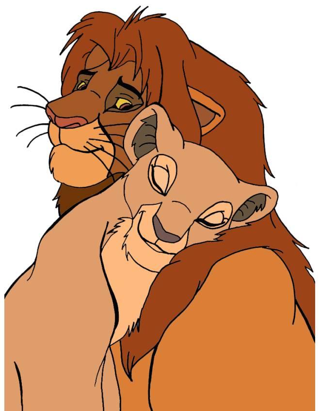 disegno di Simba e Nala Re Leone a colori