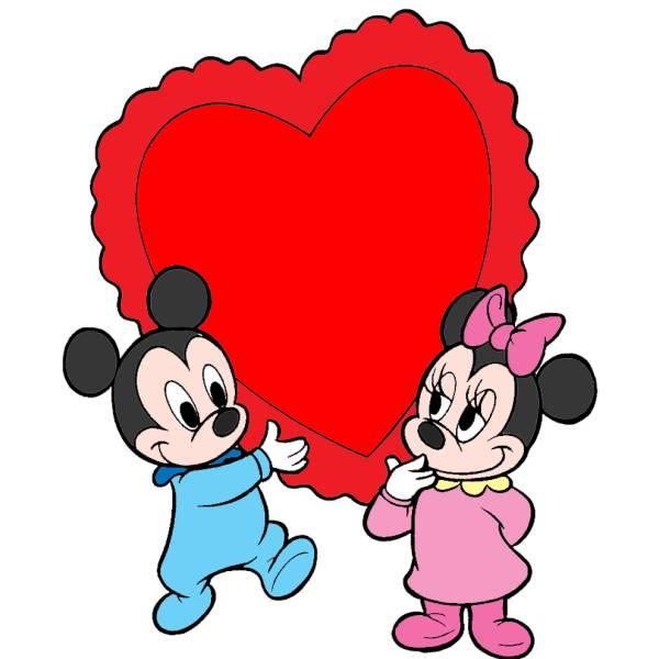 Disegno di Topolino e Minnie Baby Cuore a colori