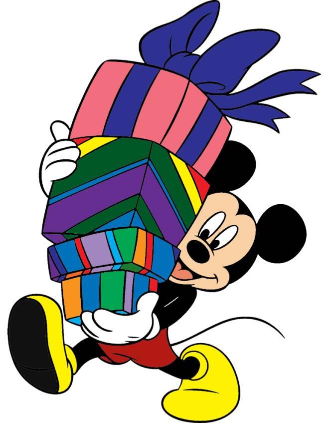 disegno di Topolino con i Regali a colori