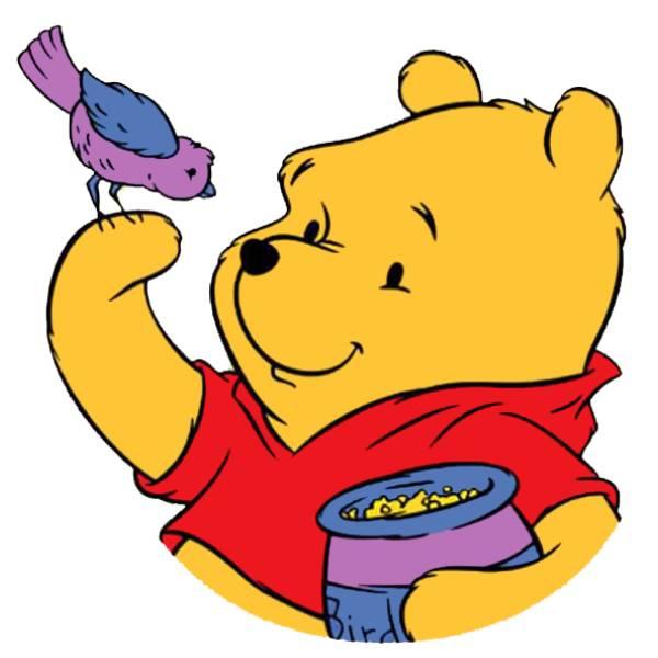 Disegno di winnie pooh e l uccellino a colori per bambini