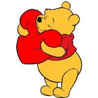 Disegno di Winnie Pooh con il Cuore a colori
