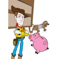 Disegno di Woody Slinky e Hamm a colori