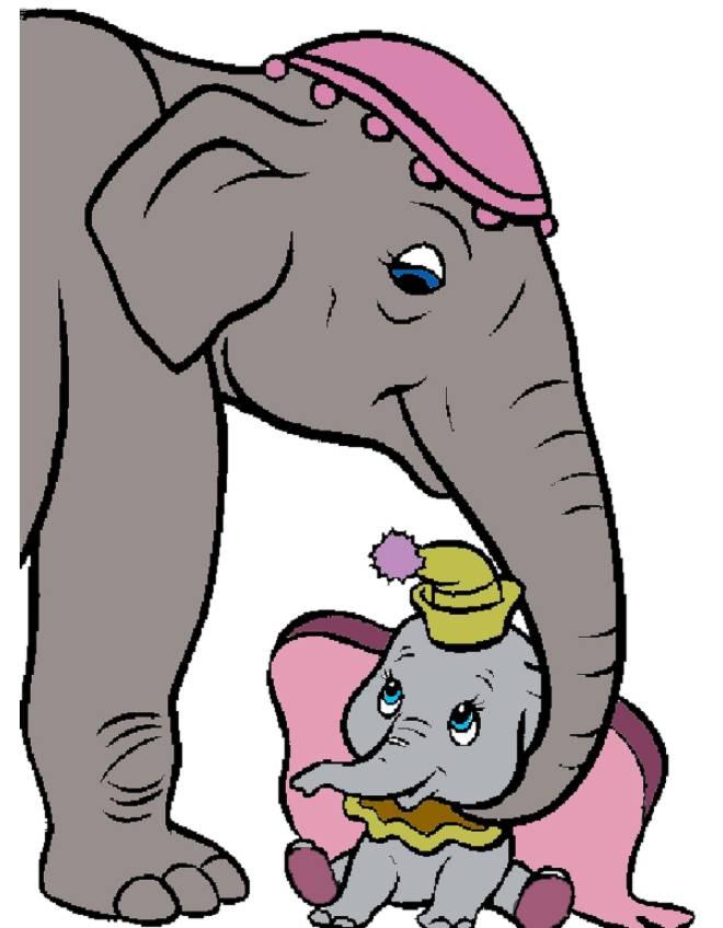 disegno di Dumbo e Mamma a colori