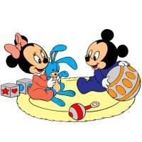 Disegno di Minnie e Topolino Baby a colori