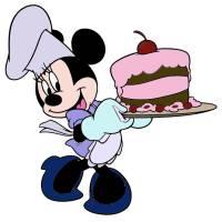 Disegno di Minnie con Torta a colori