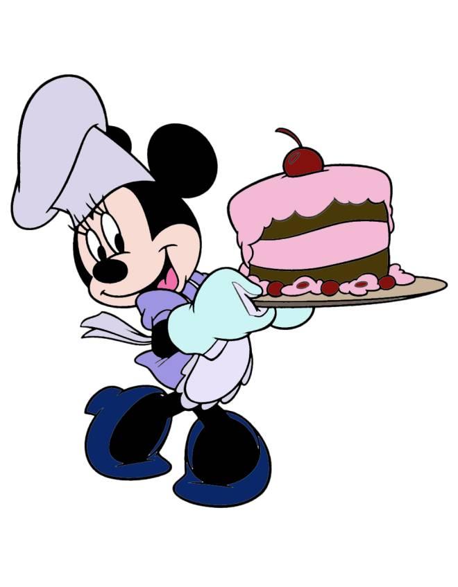 Disegno di minnie con torta a colori per bambini