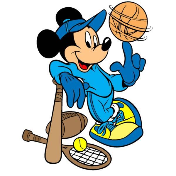 Disegno di topolino e lo sport a colori per bambini