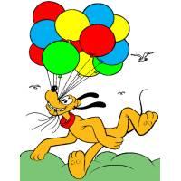 Disegno di Pluto con Palloncini a colori