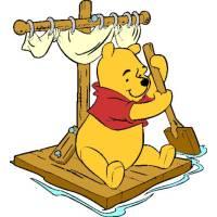 Disegno di Winnie Pooh sulla Zattera a colori