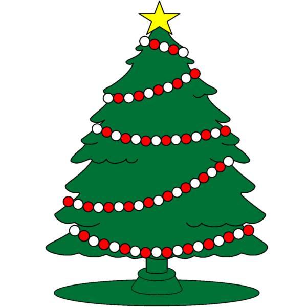 Disegno di Albero con Stella di Natale a colori