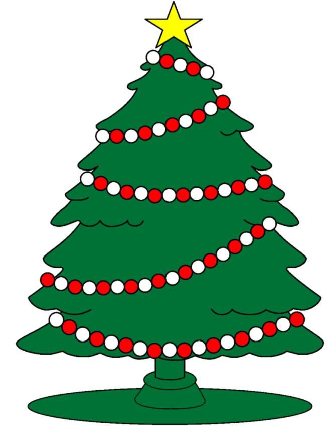 Disegno di albero con stella di natale a colori per for Disegni di natale colorati da stampare