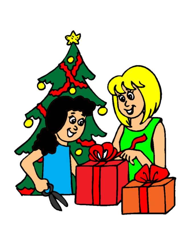 disegno di Albero con Regali di Natale a colori