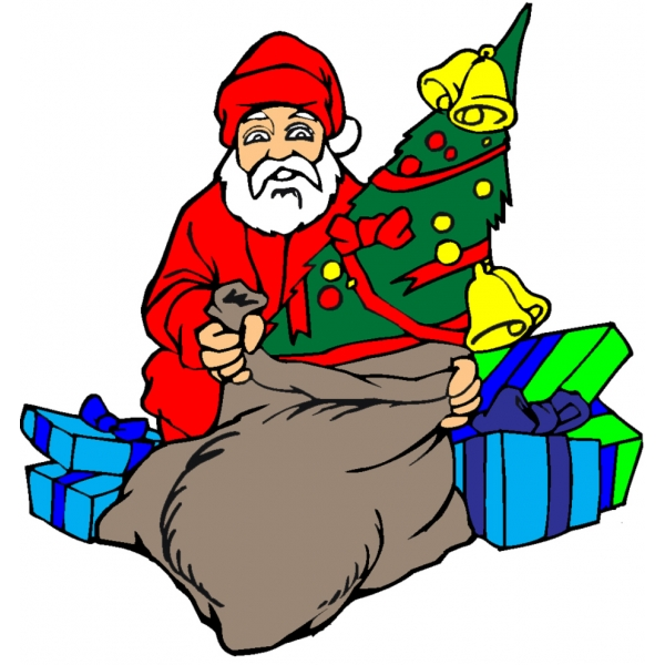 Disegno di Babbo Natale con Regali a colori