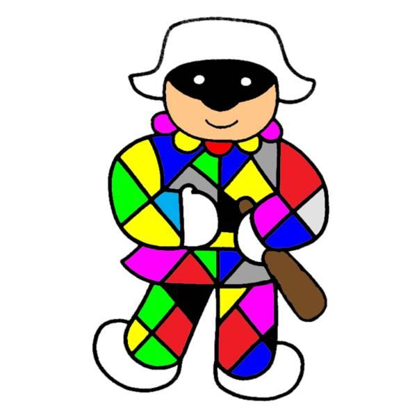 Disegno Di Arlecchino A Colori Per Bambini Disegnidacolorareonline Com